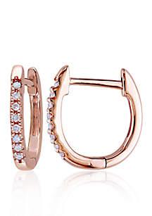 Diamond Hoop Earrings in 10k Rose Gold
