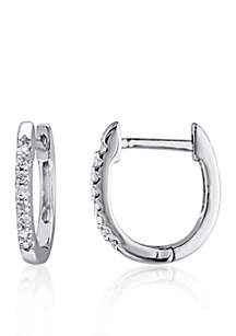 1/10 ct. t.w. Diamond Hoop Earrings in 10k White Gold