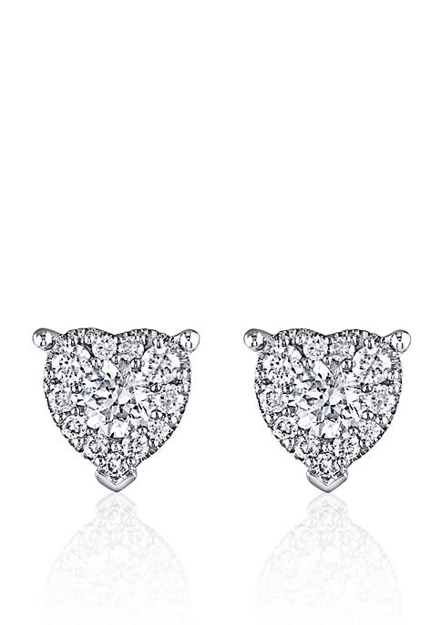 Belk & Co. Diamond Heart Stud Earrings in