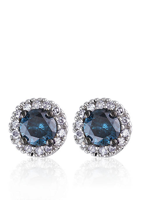 Belk & Co. Blue and White Diamond Stud