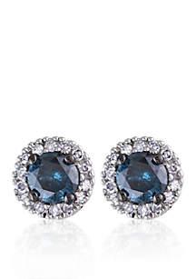 Blue and White Diamond Stud Earrings in 14k White Gold