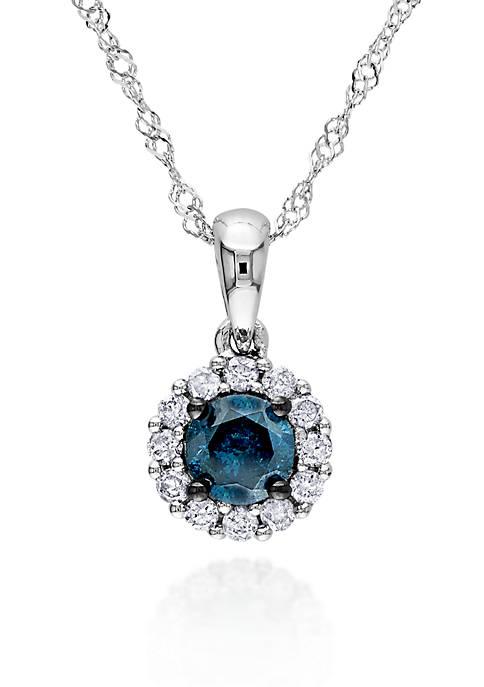 Belk & Co. Blue and White Diamond Pendant