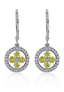 Yellow and White Diamond Flower Earrings in 14k White Gold