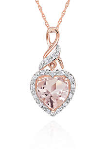 10k Rose Gold Morganite and Diamond Heart Pendant