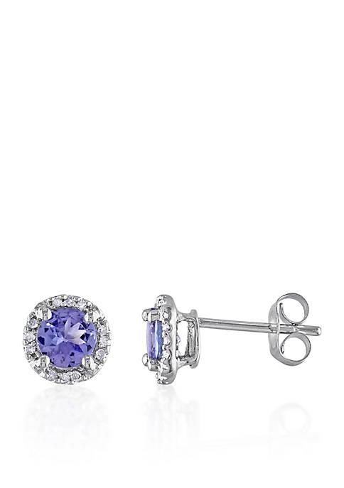 Tanzanite and Diamond Earrings in 10k White Gold