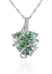 14k White Gold Green Amethyst and Diamond Pendant