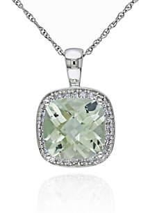 10k White Gold Green Amethyst and Diamond Pendant
