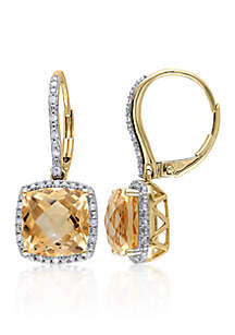 10k Yellow Gold Citrine and Diamond Earrings