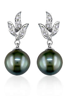 10k White Gold Black Tahitian Pearl and Diamond Earrings