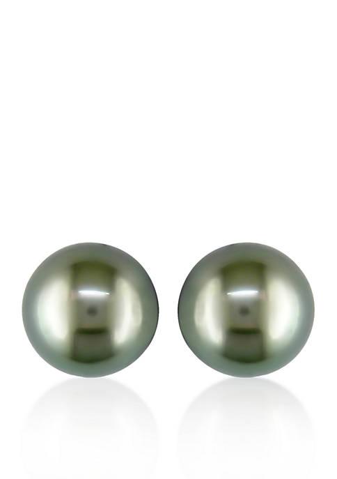14k White Gold Black Tahitian Pearl Stud Earrings