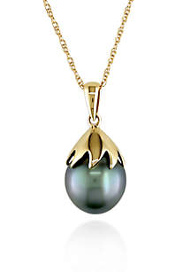 10k Yellow Gold Black Tahitian Pearl Pendant