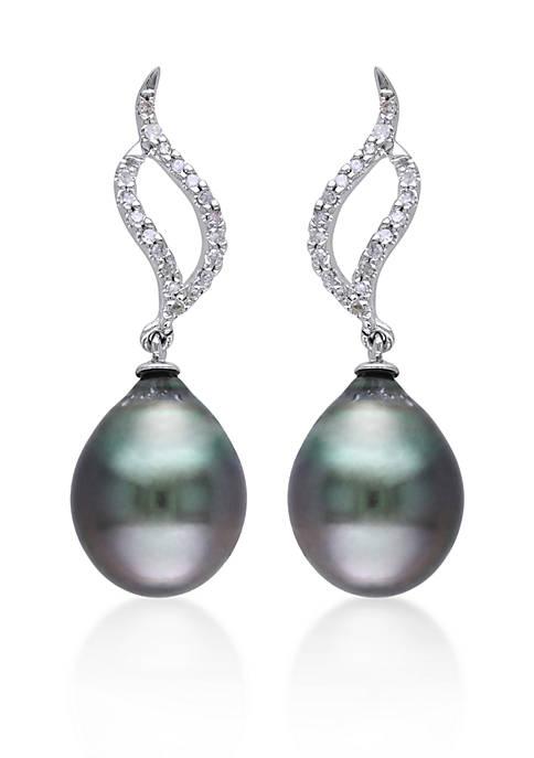 10k White Gold Black Tahitian Pearl and Diamond Earrings