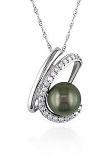 10k White Gold Black Tahitian Pearl and Diamond Pendant