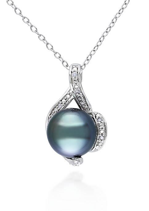 Sterling Silver Black Tahitian Pearl and Diamond Pendant