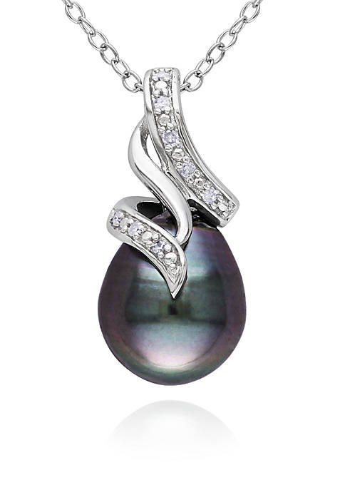 Sterling Silver Black Tahitian Pearl and Diamond Pendant