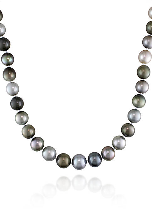 14k White Gold Multi-Black Tahitian Pearl and Diamond Necklace