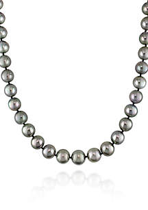 14k White Gold Black Tahitian Pearl and Diamond Necklace