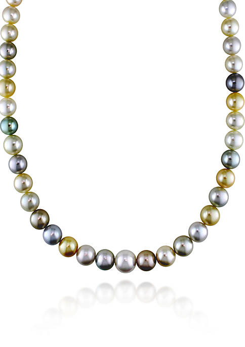 14k Yellow Gold Multi-Color South Sea and Tahitian Pearl Necklace