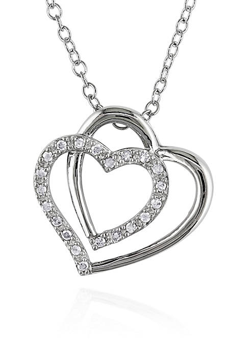Diamond Two Heart Pendant in Sterling Silver