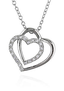 Diamond Two Heart Pendant in Sterling Silver