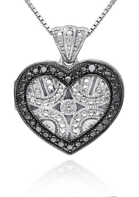 Black Diamond Heart Locket in Sterling Silver