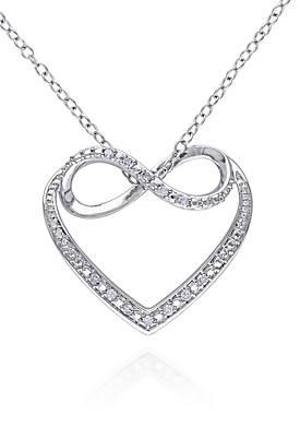Diamond Infinity Heart Pendant in Sterling Silver