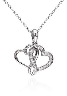 Diamond Double Heart Pendant in Sterling Silver
