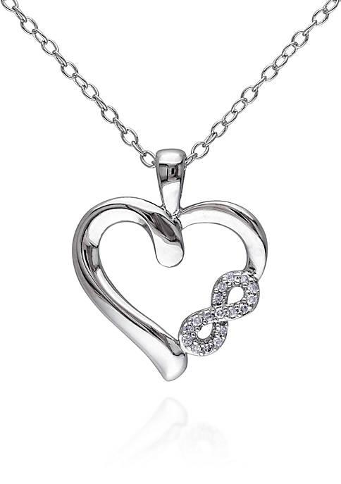 Diamond Heart Infinity Pendant in Sterling Silver