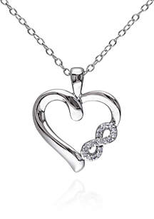 Diamond Heart Infinity Pendant in Sterling Silver