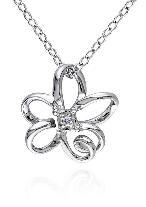 Belk & Co. Diamond Flower Pendant in Sterling