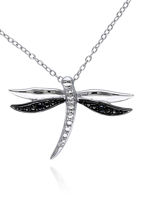 Belk & Co. Black Diamond Dragonfly Pendant in
