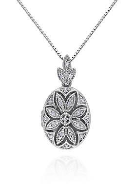 Diamond Locket Pendant in Sterling Silver