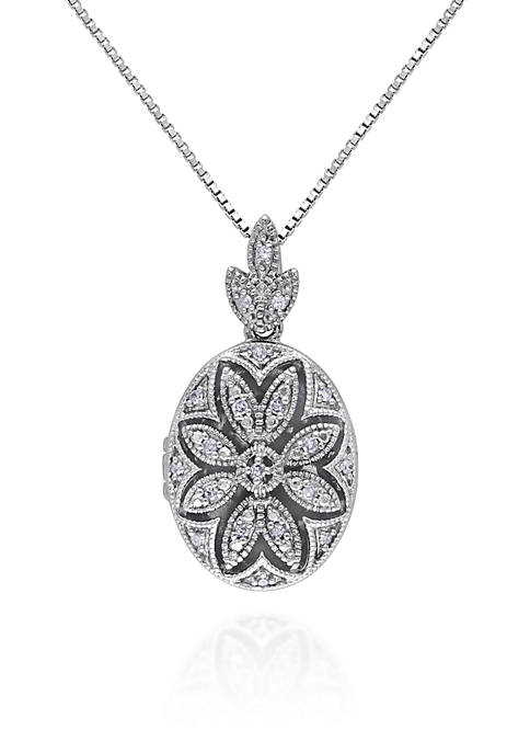 Belk & Co. Diamond Locket Pendant in Sterling