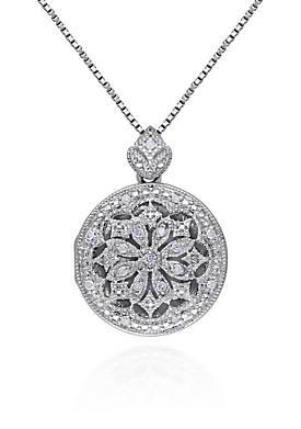 1/10 ct. t.w. Diamond Locket Pendant in Sterling Silver