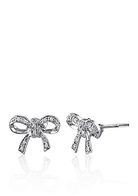 Belk & Co. Diamond Bow Earrings in Sterling