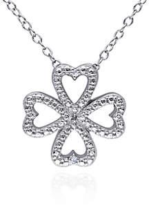 Diamond Clover Heart Pendant in Sterling Silver