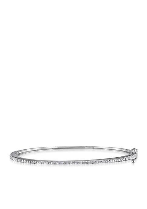 Diamond Bangle Bracelet in Sterling Silver