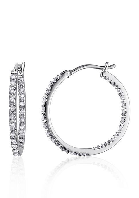 Belk & Co. Diamond Hoop Earrings in Sterling