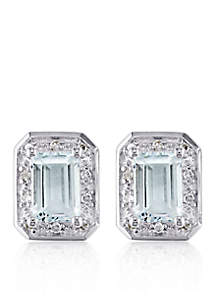 Sterling Silver Aquamarine and Diamond Stud Earrings