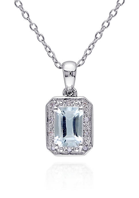 Belk & Co. Sterling Silver Aquamarine and Diamond