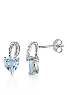 Sterling Silver Aquamarine and Diamond Heart Earrings
