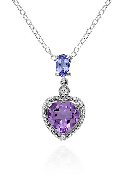 Belk & Co. Amethyst, Tanzanite, and Diamond Heart