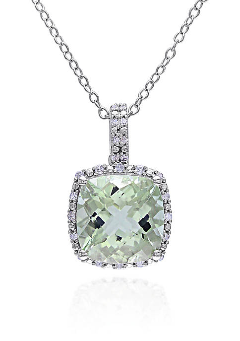 Green Amethyst and Diamond Pendant in Sterling Silver