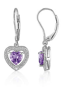 Amethyst and Diamond Heart Earrings in Sterling Silver