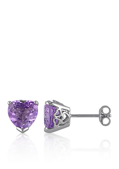 Belk & Co. Amethyst Heart Earrings in Sterling