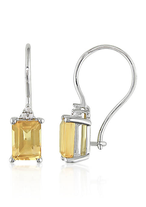 Sterling Silver Citrine and Diamond Earrings