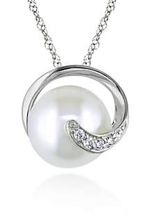 10k White Gold Cultured Freshwater Pearl and Diamond Pendant
