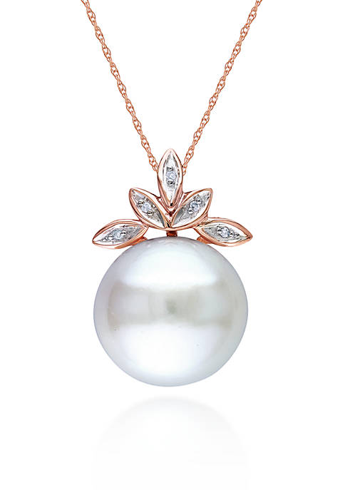 10k Rose Gold Cultured Freshwater Pearl and Diamond Pendant