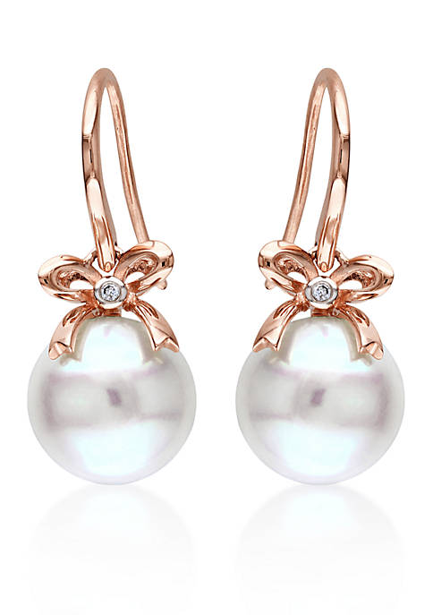 10k Rose Gold Cultured Freshwater Pearl and Diamond Bow Earrings