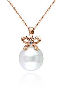 10 Rose Gold Cultured Freshwater Pearl and Diamond Bow Pendant